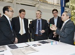Robert Forestell, a mechanical engineering undergraduate student accompanied by Thierry Vandal, President and CEO of Hydro-Québec, Élie Saheb, Executive Vice-President ...